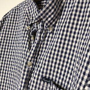 Faconnable Shirts - Men's blue gingham short sleeve dress shirt XL